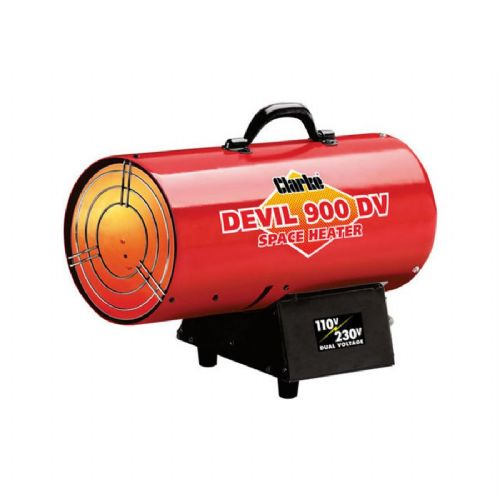 Clarke DEVIL 900DV Dual Voltage Propane Fired Space Heater 24.9kW 85,000 BTU 110V/240V~50Hz